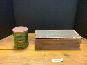 Vintage cardboard Dinner Party Coffee can and wooden All Quality Cigars box