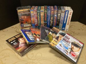 Assorted John Wayne DVDs and VHS tapes