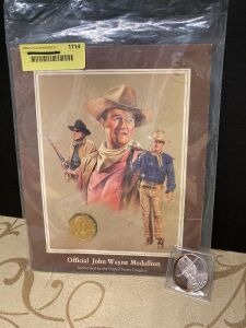 Official John Wayne medallion and limited edition one Troy ounce John Wayne silver round