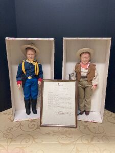 Two John Wayne Effanbee dolls and letter from Michael Wayne