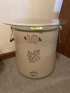 "10 gallon Western Stoneware crock w wood/wire bale handles and 19"" glass top"
