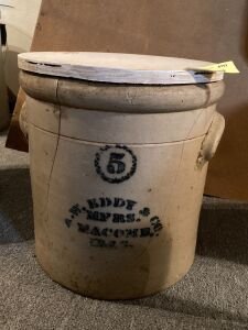 5 gallon A.W. Eddy & Co. crock w wood top See photos for damage
