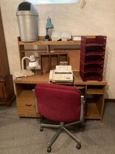 Work desk measures 54 x 22 x 53, Brother fax machine, trash can, desk lamps, SRS sound retrieval system, cork board, file trays and disc holder
