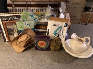 Card table, Boy Scout canteen, pitcher and basin, wind wheels, Lefton 25th anniversary S & P shakers, Black & Decker Scum Buster kit, barometer, green depression sherbets, doll bench, cigar boxes and more