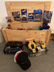 Wood toy chest measures 31 x 14 x 16 (hinges need to be replaced) and contents-RC cars, Hot Wheels, Matchbox, Racing Champions and more