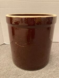 R.R.P. 3 gallon brown glaze stoneware crock and beehive jug