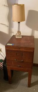 Single drawer wood file cabinet measures 16 x 19 x 31 and a glass base table lamp