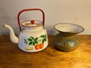 Enamel tea pot and cast iron enamel spittoon