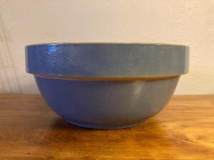 Unmarked 10 1/2 in. blue stoneware mixing bowl