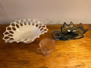 Three pieces of pretty glassware - white is marked Westmoreland