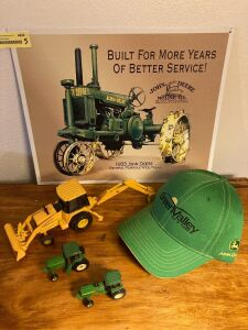 16 x 13 John Deere wall sign, John Deere Green Valley Ag & Turf cap and three 1:64 John Deere tractors