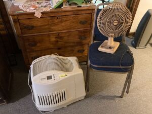 Pair of chairs, Edison table/desk oscillating fan and a Kenmore Quiet Comfort humidifier - Model 758.144116