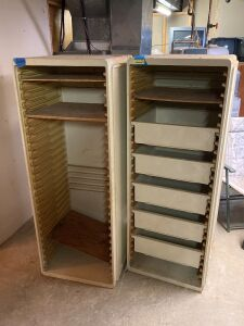 Pair of hospital shelving units with some pull-out trays - were originally mounted to the wall - used for patients personal items, etc. - measure 24x23x61