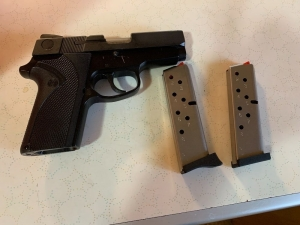 Smith & Wesson 9mm Model 908 and two clips  **Gun buyers will need to have current gun permit and must be registered bidder on the paid invoice, NO EXCEPTIONS**