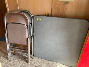 Card table and with four Samsonite folding chairs and two aluminum folding chairs