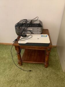 End table, HP Scanjet G3110 and Canon MX870