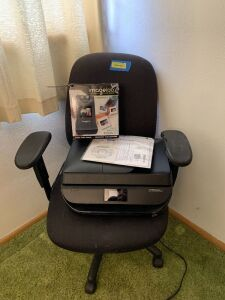Office chair (arm rest has minor damage to padding-see photo), HP Officejet 4652 and imagelab slide and negative scanner Model FS9T