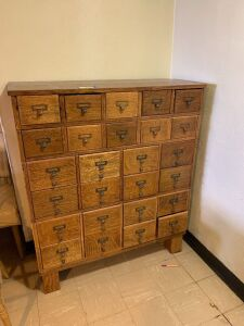Library card catalog cabinet and contents remaining (mostly electrical repair) Measures 39 x 16 x 35 and is 5 sections