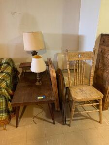 Two carrom boards, two table lamps, step table and two vintage chairs