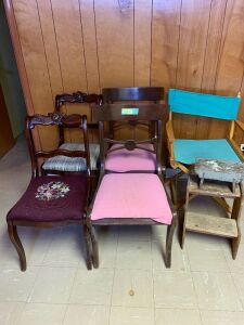Four dining chairs, directors chair and two step stools