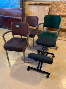 Three heavy duty office chairs (one on wheels) and a knee rest chair