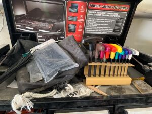 Contents of toolbox include T handled Allen wrenches, Pittsburgh combination wrenches SAE and metric, heat shrink tubing assortment, circular and reciprocating saw blades, sander.