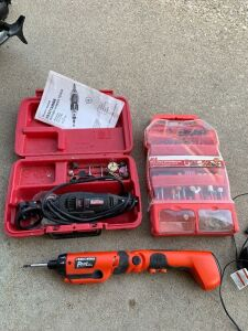 Craftsman rotary power tool, Ace Hardware rotary tool accessory set and Black and Decker pivot plus