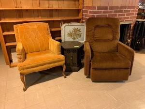 Vintage rocker recliner, arm chair, hexagon end table, vintage TV trays **Books shown are NOT included**