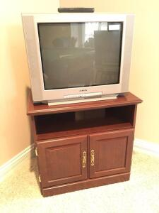 TV and Wooden stand