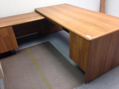 "72"" oak desk with return"