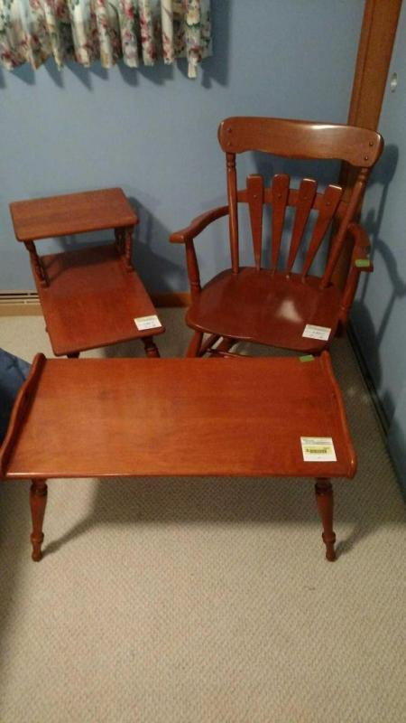 Three Pieces Of Vintage Hard Rock Maple Furniture Arm Rocker Step End Table And Coffee Cur Price 12 5