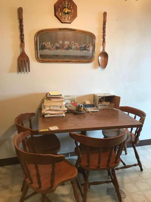 Dining Table And Four Chairs Plus Last Supper Print And Wall Decour