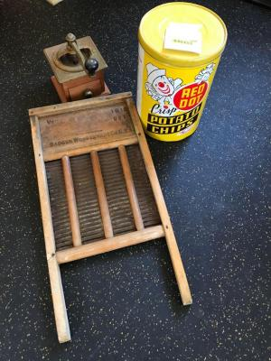 Coffee grinder, washboard, red dot potato chip tin