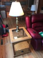 Pair of glass top oak end tables with lower drawer and brass lamps 26 x 22 x 24 tall