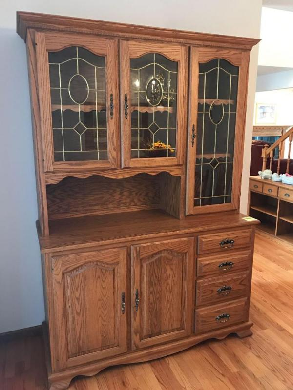 Amish Haus Oak Leaded Glass Doors, 2 Piece China Cabinet   Lower Doors And  4 Drawers 55 Wide 22 Deep 80 Tall Top Piece Is 14 Inch Deep   Current  Price: $190