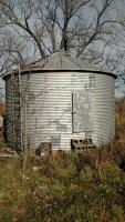 Bin is in good overall condition with minor rust. We believe it to be 12' diameter.  Currently bolted to concrete slab. Approx 2000 Bu Capicity. Buyer will have until January 31, 2018 to remove bin from property. Removal will be at full risk of buyer, Seller will not be held liable in any manner. Seller will terminat Electrical power to bin prior to removal. These additional TERMS and CONDITIONS ARE AGREED TO BY THE BUYER WHEN PLACING A BID.