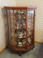 Octagon revolving display case JG Schumm pat'd December 25th 1894 30 x 46.5 top has been replaced items on shelves not included