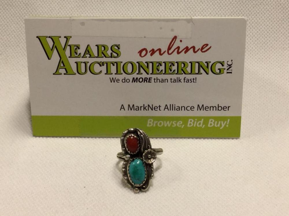 Lot 2787sterling And Turquoise Ring Sz 3 4
