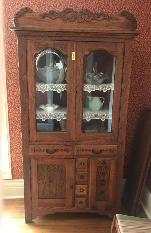 Antique Oak Spoon Carved Double Glass Door China Cabinet With Two