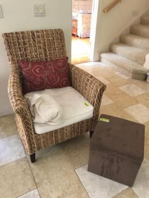 Wicker style side chair, throw pillow and storage foot stool