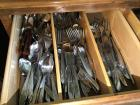 Various pieces of stainless steel silverware napkin rings cabinet not included