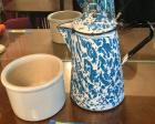 Blue and white enameled coffee pot and USA crock