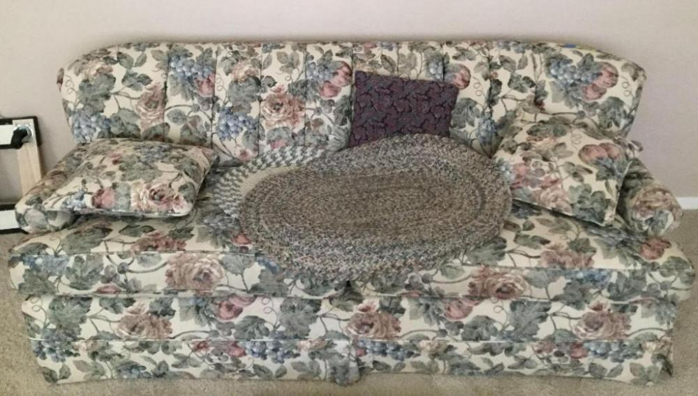 Lot 3839 Of 137 Fl Sofa With Two Small Round Woven Rugs 78 Inches Long