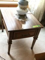 Pair of matching end tables with brass lamp 20 x 26 x 21 - does not include painted lamp