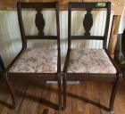 TOTAL OF 5 matching vintage wooden chairs with floral upholstered seats