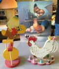Vintage Teeter Toy with original box, thread rooster and print