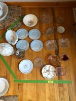 Various glassware - includes Nippon plates
