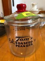 Vintage Tom's Toasted Peanuts Store Counter Jar - approximately 12""