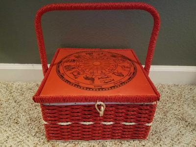 Unique red rattan Dritz sewing basmet with zodiac wheel on top 10 X 10 X 6 filled with vintage sewing items