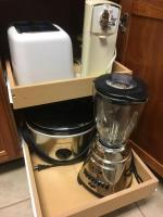 Kitchen appliances, toaster, CanOpener, blender and crockpot